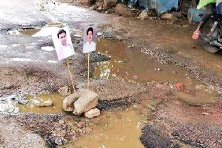 Cong worker decorates Hyd pothole with KTR pics GHMC fixes it silently at night