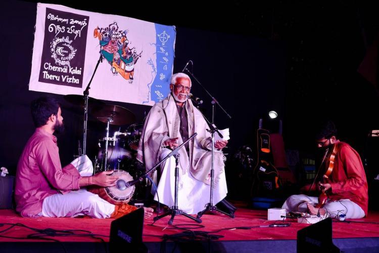 Singer Kumari Aboobacker performing on stage at Chennai Kalai Theru Vizha