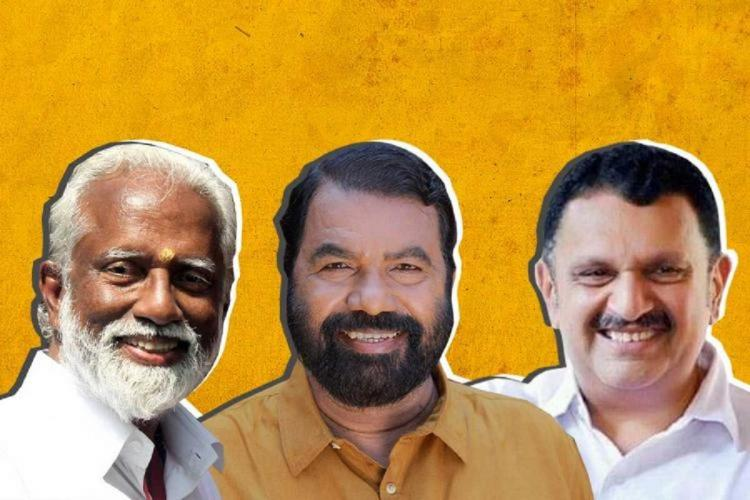 Collage of Kummanam on the left with white beard and hair Sivankutty in the middle wearing a mustard shirt and has black beard and hair and on the right is Muraleedharan in white with a smile and his trademark mustache The background is deep yellow