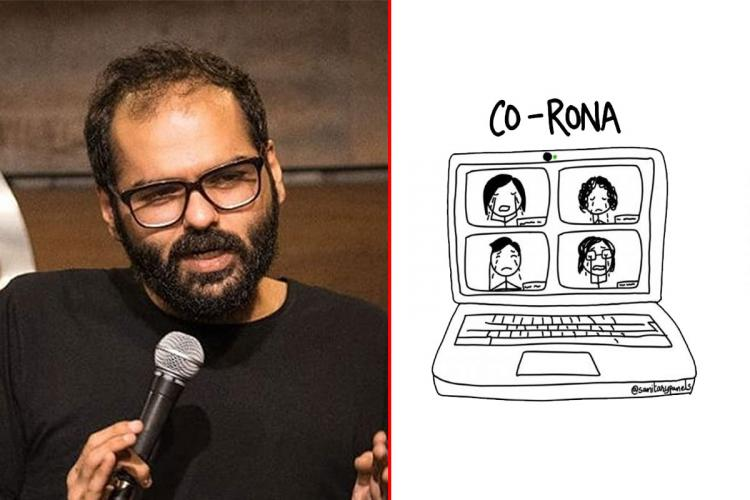 A collage of comedian Kunal Kamra and comic by artist Sanitary Panels