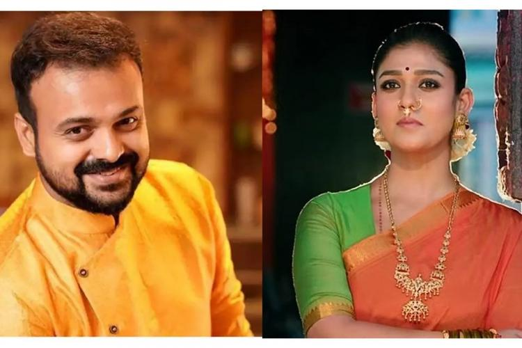 On the left is Kunchacko Boban in a yellow kurtha bearded and on the right is Nayanthara in an orange Sari and green blouse