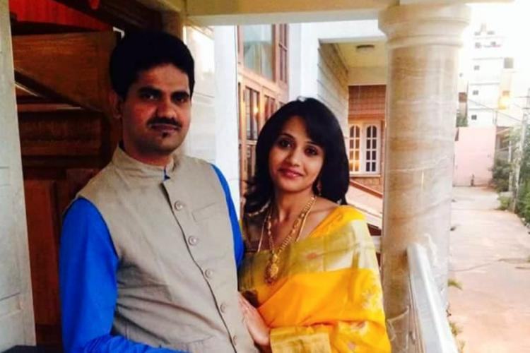 Kusuma Ravi with her husband late IAS officer DK Ravi