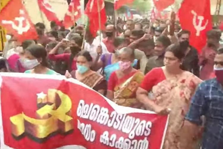 CPI(M) workers protest in Kuttiadi
