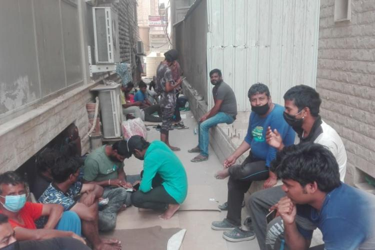 Scores of blue-collar workers have been sleeping in the alleyways in Kuwait