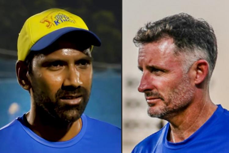 CSK coaches Lakshmipathy Balaji and Mike Hussey who both have COVID-19