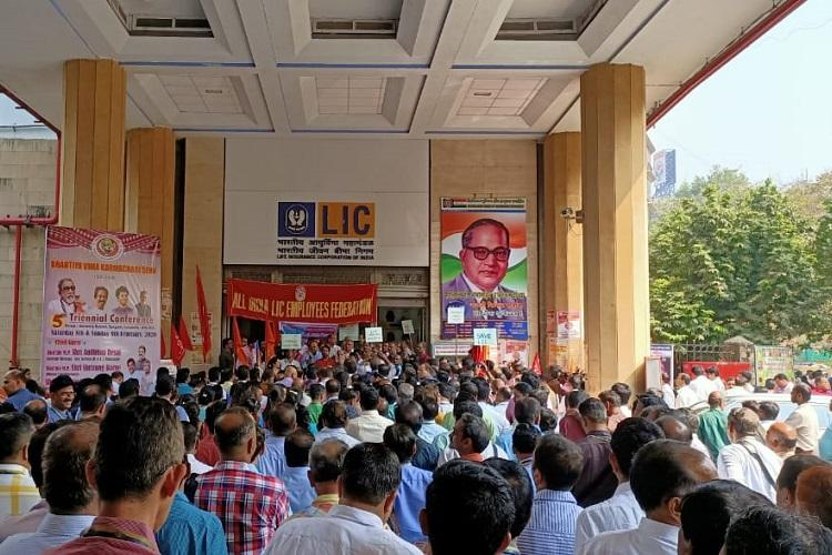 LIC employee unions across India protest against govts decision to sell partial stake