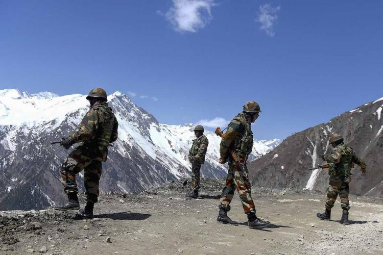 Indian soldiers guarding the border with China near Ladakh