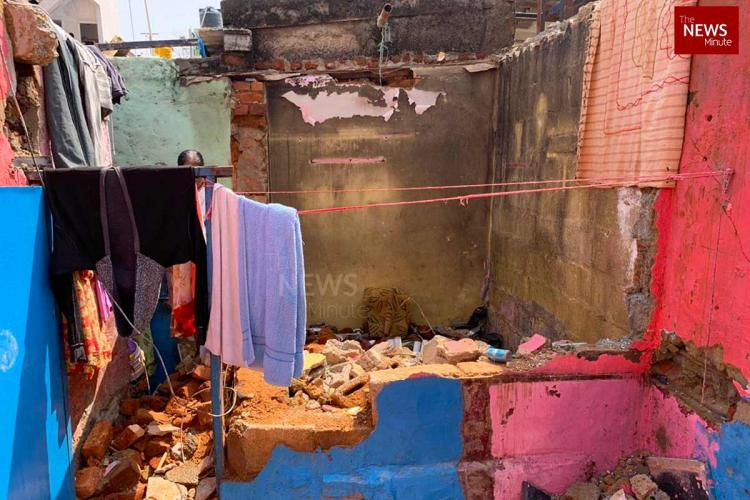 A picture of a house that collapsed due to heavy rains in Bengaluru's Lakkasandra
