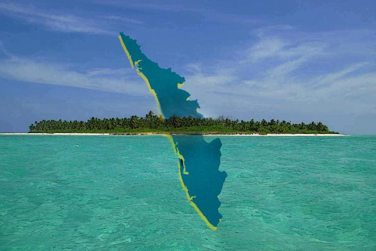 Map of Kerala rising up from the Lakshadweep islands in this illustrated image with greenish blue sea and blue sky