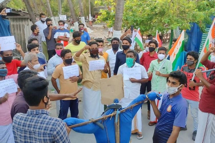 Residents of Kiltan island in Lakshadweep protesting against administrative reforms
