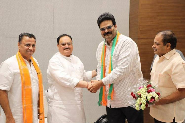 Dinaker Lanka being welcomed into BJP by J P Nadda