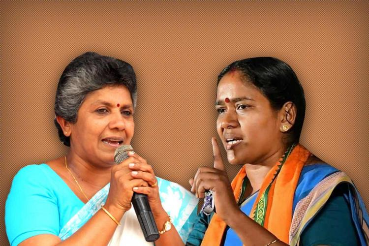 A collage of former Kerala Mahila Congress President Lathika Subhash in a light blue saree and blouse and BJPs Sobha Surendran in a dark blue saree