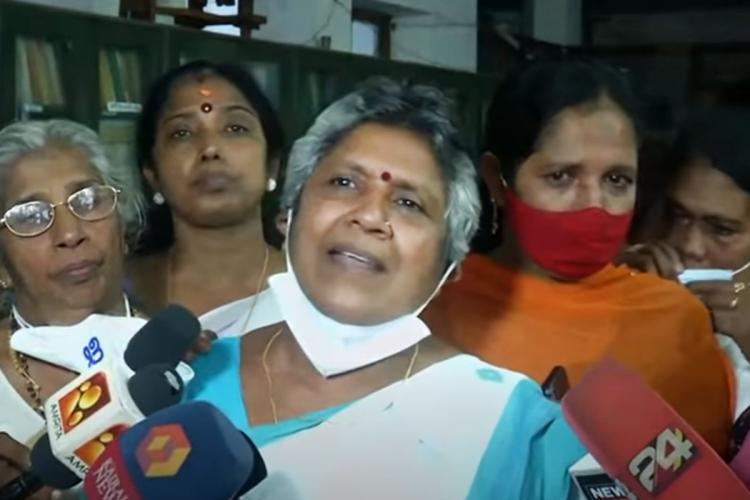 Lathika Subhash speaking to media outside KPCC office in Thiruvananthapuram