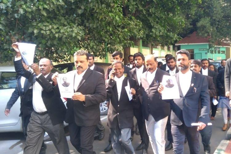 Days after suicide by Dalit lawyer Bengaluru lawyers protest over alleged police apathy