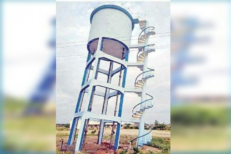 Overhead tank inaugurated three months ago in Mission Bhagiratha tilts in Telangana