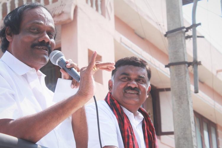 Dindigul Leoni and Thondamuthur DMK candidate Karthikeya Sivasenapathy at an election campaign drive