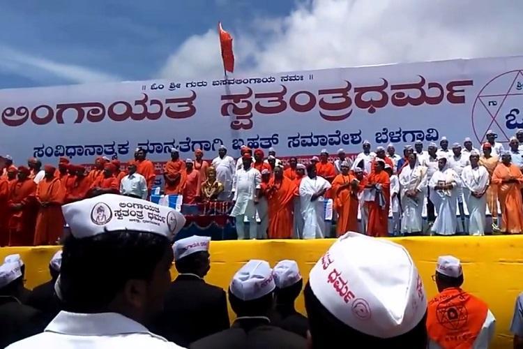 Massive show of strength again by Lingayats in Belagavi target RSS Chief Mohan Bhagwat