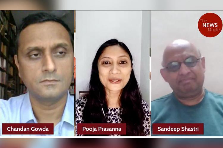 Collage of Chandan Gowda, Pooja Prasann and Sandeep Shashtri