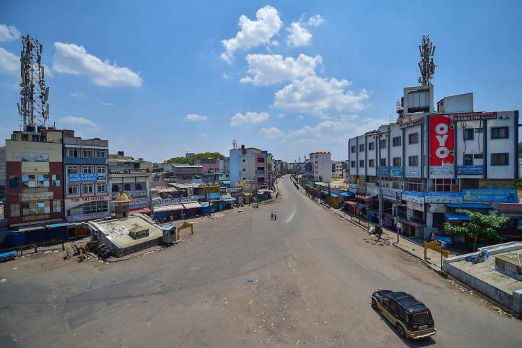 Bengaluru A city street wears a deserted look during lockdown in the wake of coronavirus pandemic