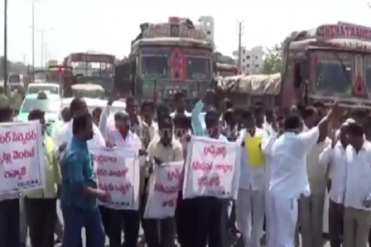 Truckers intensify strike in Telangana Andhra demand immediate steps by govt