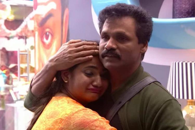 Losliya along with father Mariyanesan inside Bigg Boss Tamil house