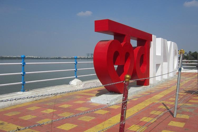 Love Hyderabad monument defaced temporarily fenced