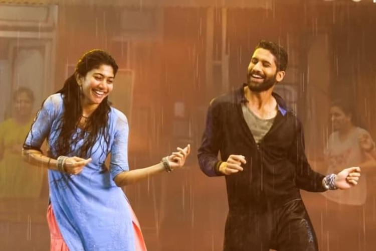 Actor Sai Pallavi is seen on the left while Naga Chaitanya is seen on the right