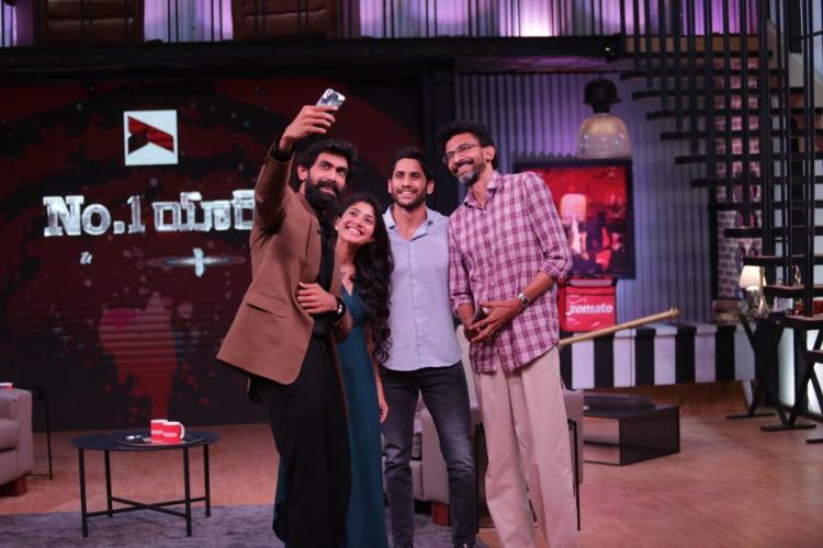 Sekhar Kammula, Sai Pallavi, Naga Chaitanya and Rana Daggubati taking a selfie in the sets of 'Yaari No. 1'.