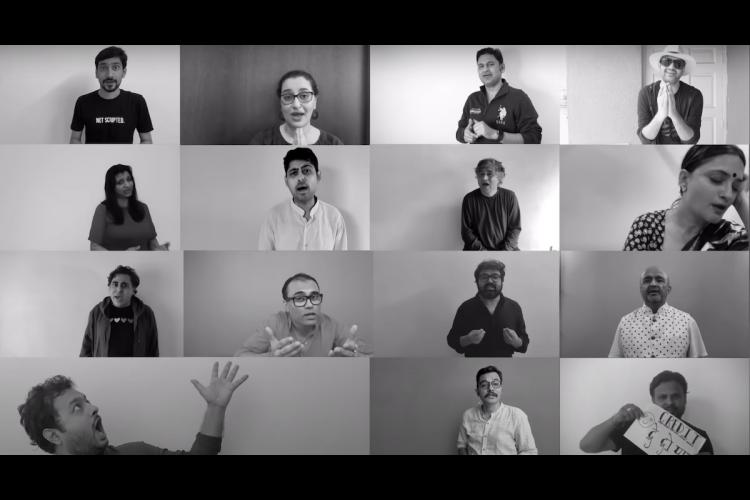 A screengrab from the video where 15 lyricists have come together make a video seeking proper credits for songs they have worked on