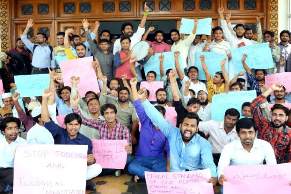 Hyd Urdu Uni students protest order to vacate hostel rooms before vacations