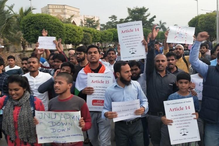 Osmania Uni Hyd Central Uni and MANUU stage protests against JNU violence