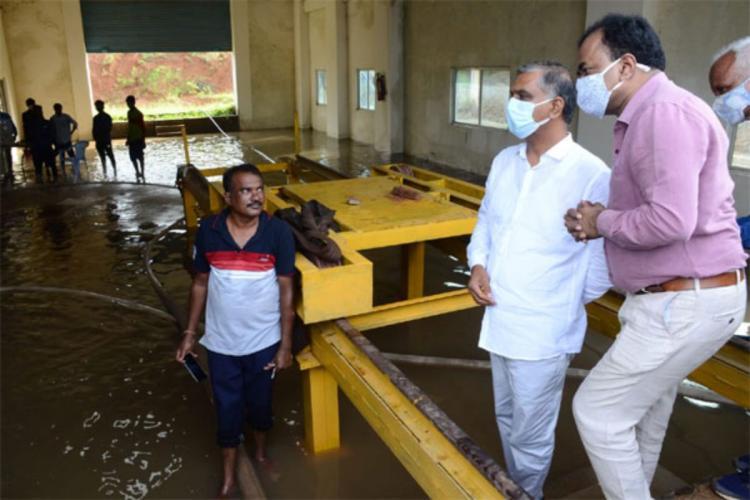 Telangana Minister T Harish Rao and HMWSSB Managing Director Dana Kishore at the Mallaram pump house