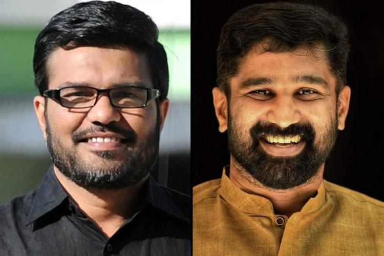 Collage of MB Rajesh in black shirt and specs and beard and VT Balram in mustard kurtha and beard Both are smiling