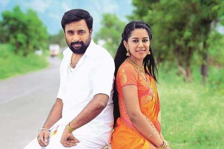 Sasikumar is seen wearing a veshti while Mirnalini is seen in a saree in the image from MGR Magan