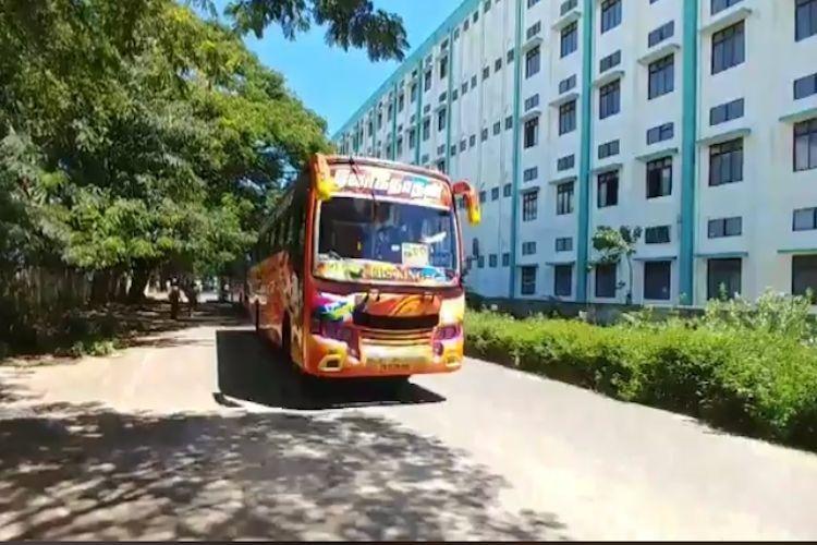 MGR centenary celebrations AIADMK cadres break law use school buses to reach venue