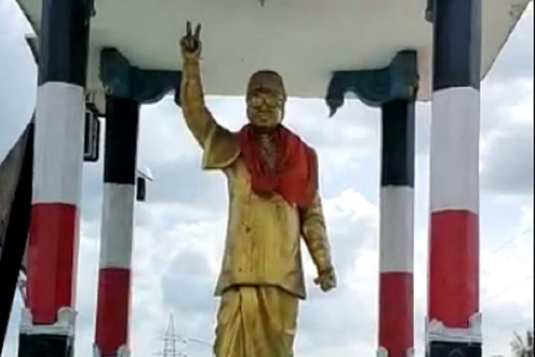MGR statue in Puducherry with a saffron shawl wrapped around the neck