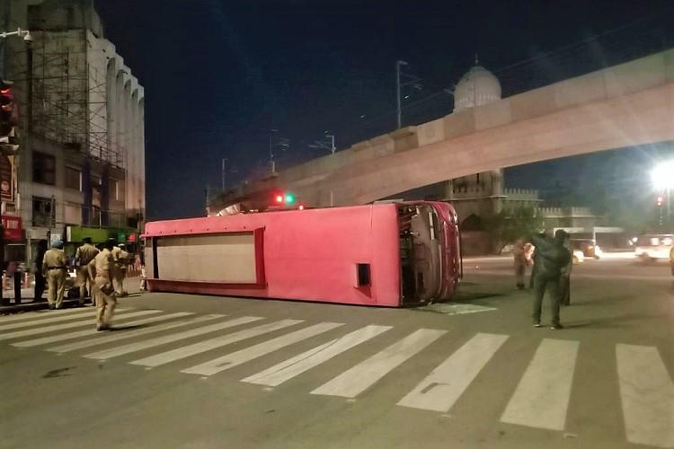 RTC bus tips over at Hyderabads MJ Market 5 injured