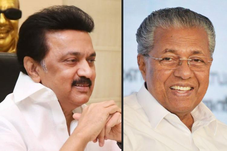 MK Stalin on the left and Pinarayi Vijayan on the right