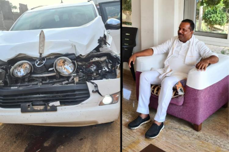 Collage of MLA UT Khader on right and the damaged vehicle on left