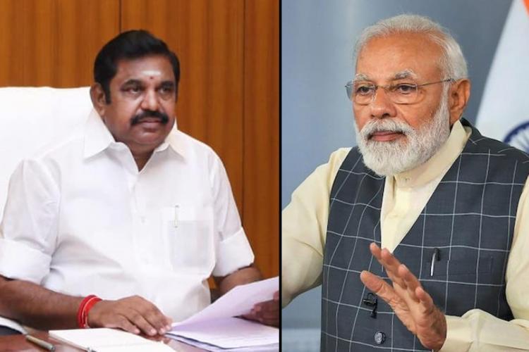 Chief Minister Edappadi Palaniswami and Prime Minister Narendra Modi