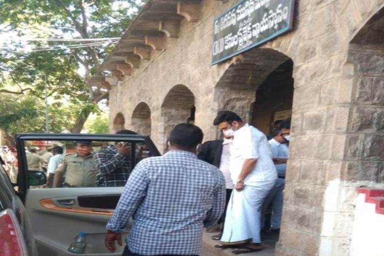 Narasapuram MP after being produced before CID Court