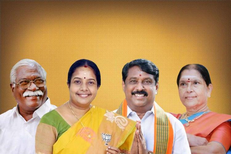 BJP leaders MR Gandhi Nainar Nagendran Vanathi and C Saraswathi