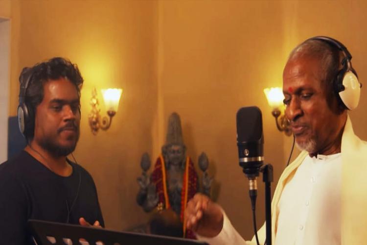 Ilayaraja and son Yuvan Shankar Raja seen together in the recording studio