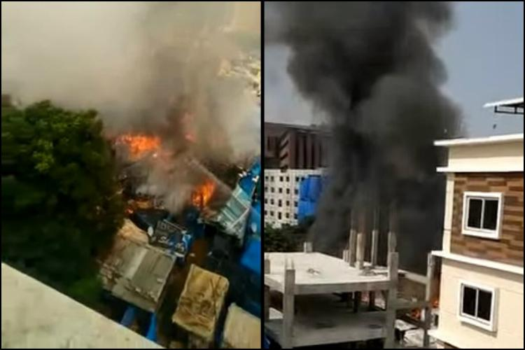 Major fire in Hyds Madhapur area around 150 huts gutted in mishap