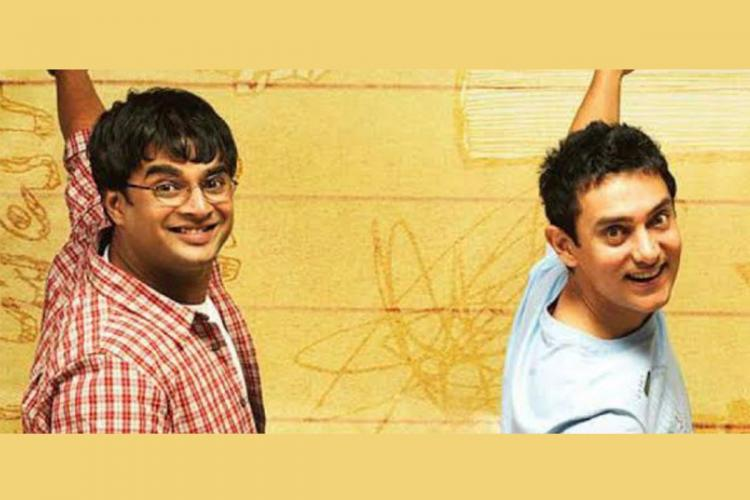 Madhavan seen as Farhan on the left and Aamir as Rancho on the right, from the poster of '3 Idiots' .