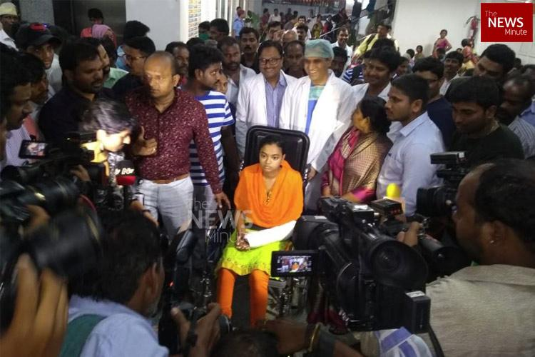 A month after her own father tried to kill her Madhavi discharged from Hyd hospital