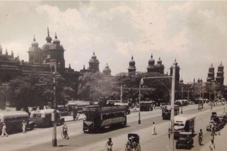 Chennai/Madras: A tram opposite Ripon Building, 1935, photo by Winston Henry