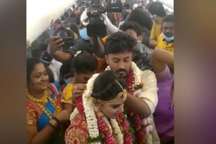 A couple from Madurai getting married on a chartered flight