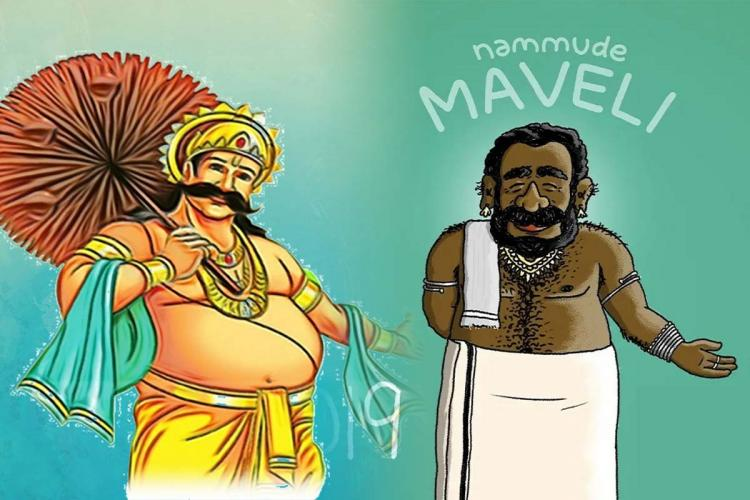 Two portrayals of Mahabali one as a fair skinned king with umbrella, the other as a fark skinned bearded man wearing white mundu and thorthu