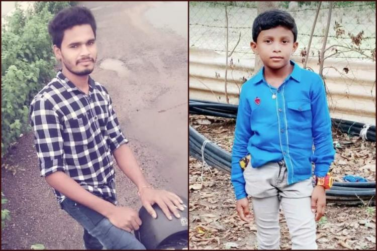 Kidnapper Sagar Manda standing against a bike on the left nine year old boy Dikshith on the right